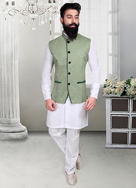 Olive Green Linen Nehru Jacket