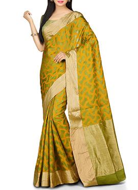 Olive Green N Orange Abstract Designed Pure Silk Saree