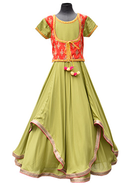 Fayon Olive Green N Red Anarkali Kids Dress
