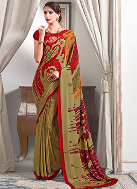 Olive Green N Red Crepe Saree
