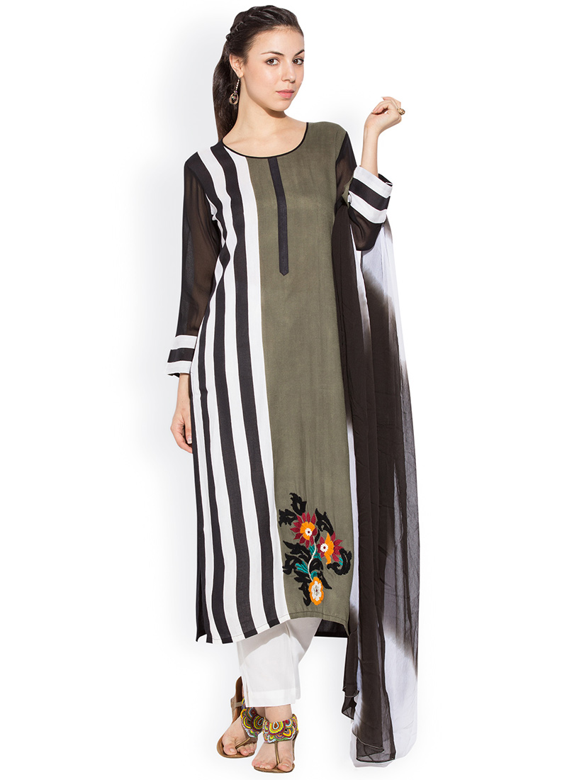 Buy Olive Green N White Plus Size Straight Pant Suit Festive