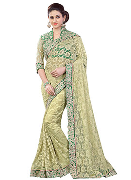 Olive Green Net Saree
