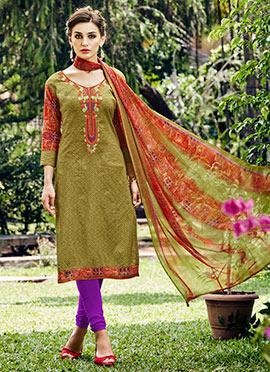 Olive Green Printed Churidar Suit