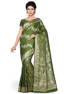 Olive Green Pure Benarasi Silk Half N Half Saree