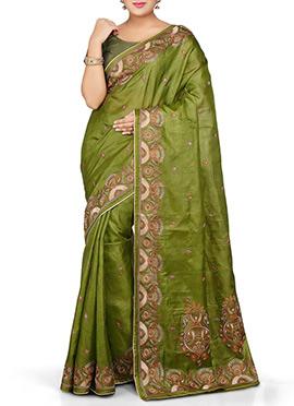 Olive Green Pure Silk Saree