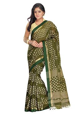 Olive Green Silk Cotton Jamdani Saree