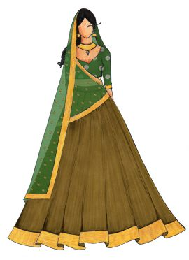 Olive Green Umbrella Lehenga