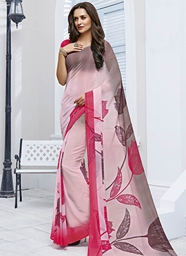 Ombre Chiffon Floral Pattern Printed Saree