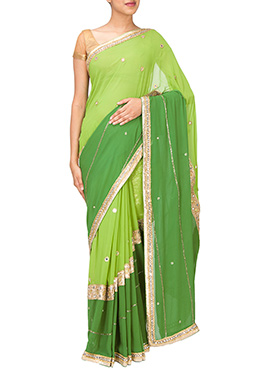 Ombre Green Embellished Saree