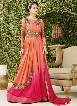 Ombre Layered Floor Length Anarkali Suit
