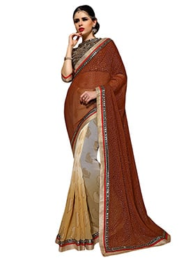 Ombre N Brown Half N Half Saree