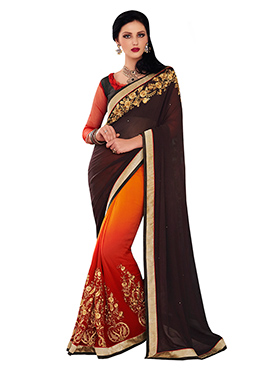 Ombre N Dark Brown Half N Half Saree