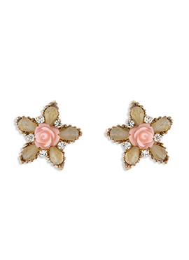 One Stop Fashion Beige N Pink Studs