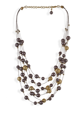 One Stop Fashion Brown N Gold Layer Necklace