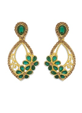 One Stop Fashion Gold Color Foliage Carved Danglers