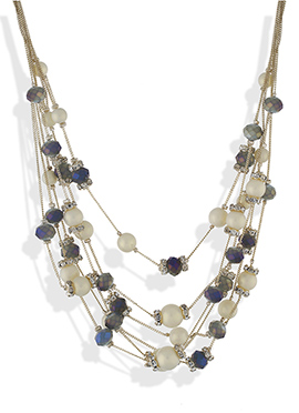 One Stop Fashion Gold N Cream Crystal Necklace