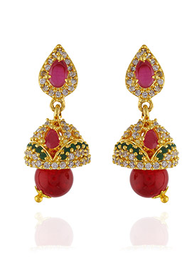 One Stop Fashion Gold Pleated Jhumkas Earrings