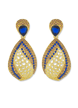 One Stop Fashion Golden Color Foliage Carved Danglers