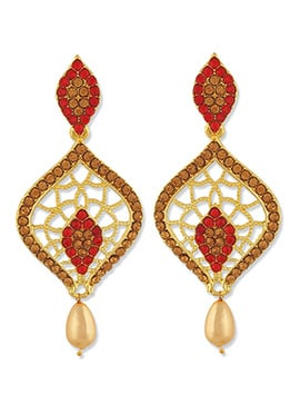One Stop Fashion Golden Color Foliage Carved Drops