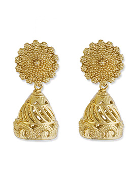 One Stop Fashion Golden Color Foliage Designed Jhumkas