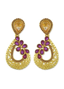 One Stop Fashion Golden Foliage Designed Danglers