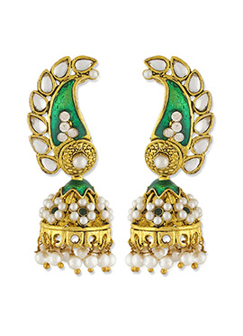 One Stop Fashion Green N Gold Pearl Stud Jhumkas