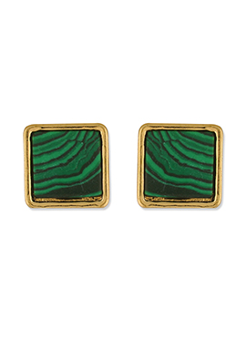 One Stop Fashion Green N Gold Square Shaped Studs