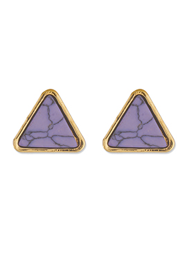 One Stop Fashion Lavender N Gold Triangular Style Studs