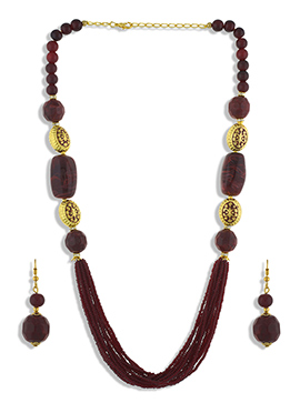One Stop Fashion Maroon Necklace Set