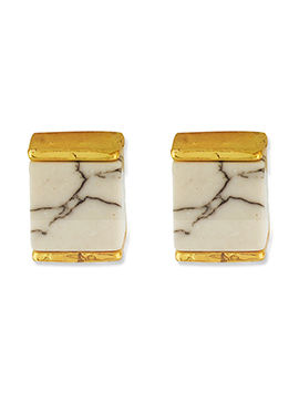 One Stop Fashion Off White N Gold Square Shaped Studs