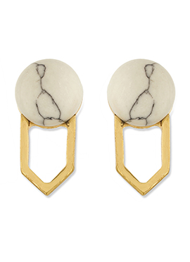 One Stop Fashion Off White N Golden Colored Studs