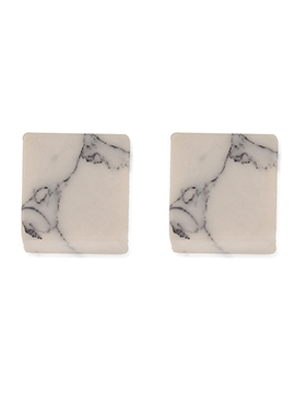 One Stop Fashion Off White Square Shaped Studs