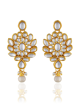 One Stop Fashion Polki Studded Drop Earrings