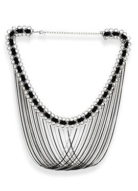 One Stop Fashion Silver N Black Layered Necklace