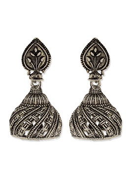 One Stop Fashion Silver Oxidized Crafted Jhumkas