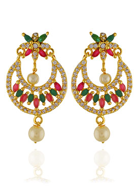 One Stop Fashion Stone Studded Chandbali Earrings