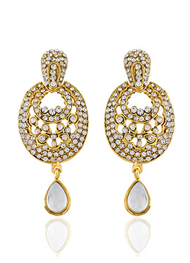 One Stop Fashion Stone Studded Drop Earrings