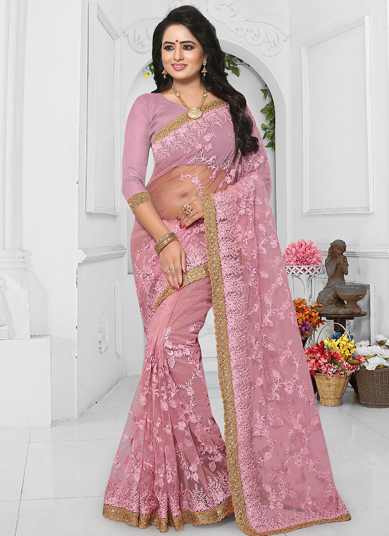 d48a8f78a8 Buy Onion Pink Embroidered Saree, Embroidered, sari Online ...