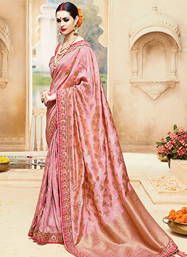 Onion Pink Pure Benarasi Silk Saree