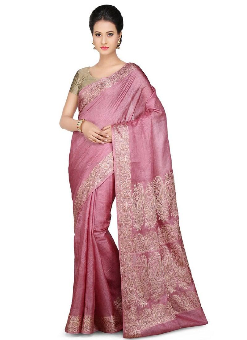 Onion Pink Pure Silk Woven Saree