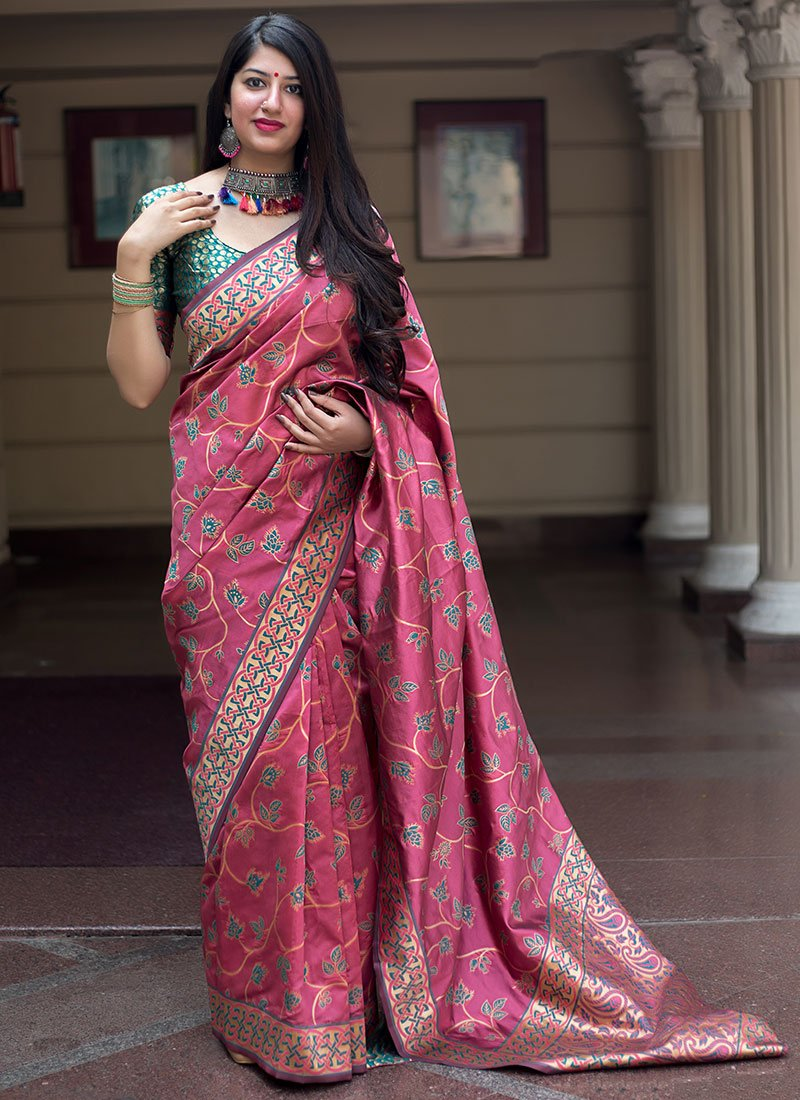 9594feab437eb6 Buy Onion Pink Zari Woven Saree, Zari, sari Online Shopping ...