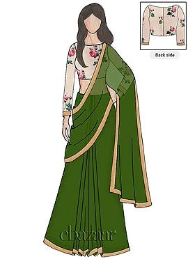 Online Lime Georgette Saree N Full Sleeve Blouse
