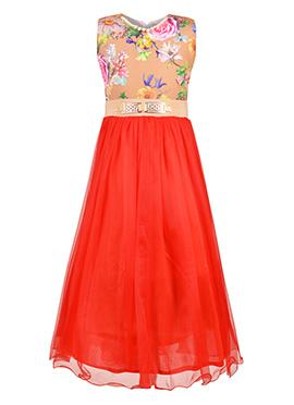 Oragne N Red Net Kids Gown