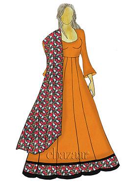 Orange Abaya Style Anarkali Suit