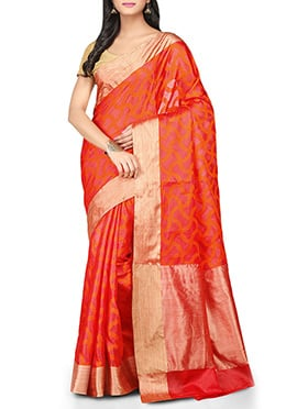 Orange Abstract Patterned Pure Silk Saree