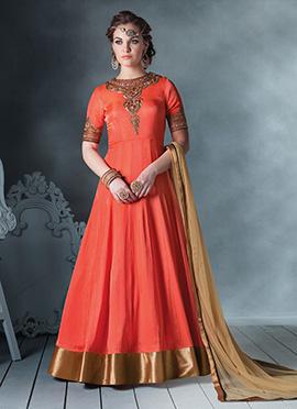 Orange Anarkali Suit