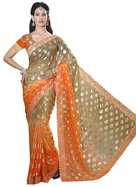 Orange and Beige Chiffon Saree