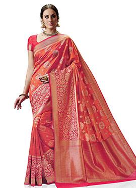 Orange and Pink kancheepuram Art Silk Saree