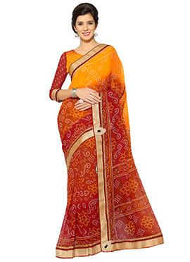 Orange and Red Bandhini Georgette Saree