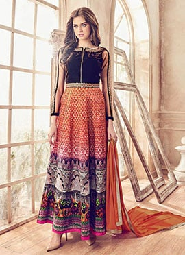 Orange Ankle Length Anarkali Suit